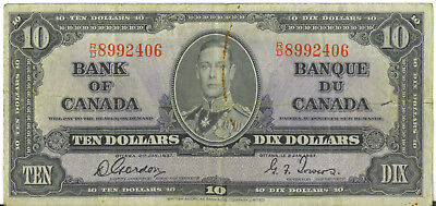 Bank of Canada 1937 $10 Ten Dollars Gordon- Towers RD Prefix Fine+
