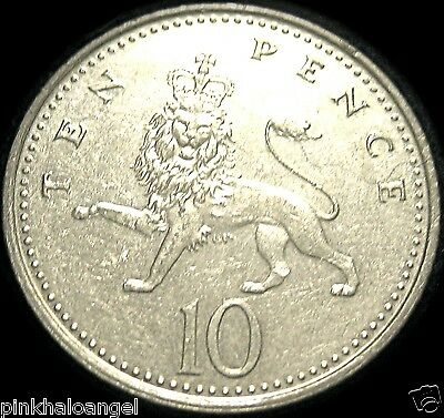 Great Britain 10 Pence Coin   Elizabeth II   Crowned Prancing Lion
