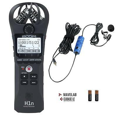 Zoom H1n Handy Portable Digital Recorder Bundle with Movo Lavalier Microphone
