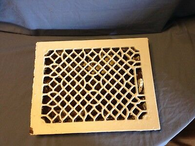 RARE Vintage cast iron louvered vented wall floor grate heat register painted
