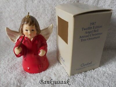 1987 12th EDITION RED GOEBEL ANGEL BELL ANNUAL CHRISTMAS ORNAMENT – MIB