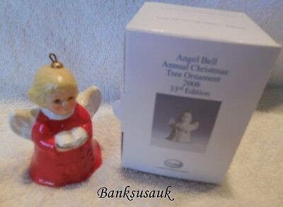 2008 33rd EDITION RED GOEBEL ANGEL BELL ANNUAL CHRISTMAS ORNAMENT - MIB