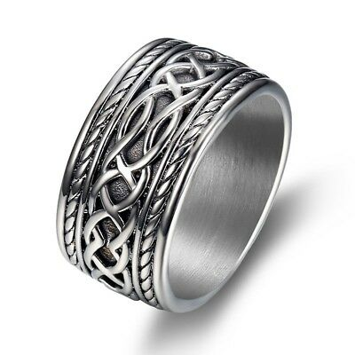 Mens Heavy Solid 316L Stainless Steel Retro Style Celtic Ring Finger Band #7-15