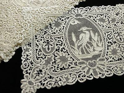 Herons Antique c1930 Italian Bobbin Lace Placemats - Set of 12