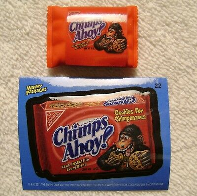 """1.5"""" Wacky Packages Chimps Ahoy Eraser Sticker Card Topps 2011 Chips Cookie RARE"""