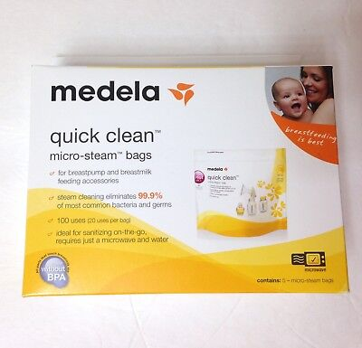 5 MEDELA QUICK CLEAN MICRO STEAM BAGS breast pump accessory microwave 100 USES!