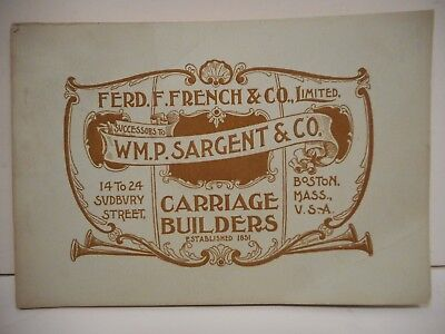 ORIGINAL 19th CENTURY FERD. F FRENCH & Co CARRIAGE BUILDERS CATALOG BOSTON, MASS