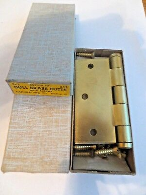7 Pairs Vtg 3 X 3 National Dull Brass  Butts Sc  Hinges No. 512- New Old Stock