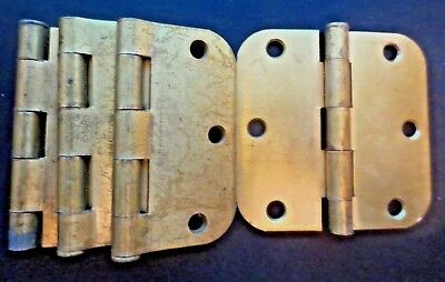 2 Pairs (4 Hinges)   Hager 3 1/2 X 3 1/2 Brasss Tone Door Hinges -NEW OLD STOCK