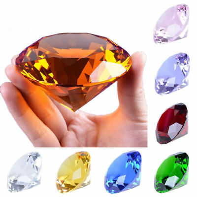 """New 80mm Crystal Diamond Paperweight Solid Color Wedding Gifts 3.15"""" W"""