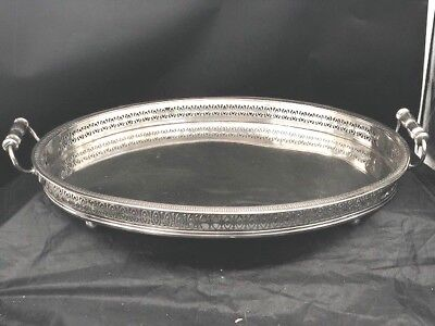 Early Unmarked Sheffield Silver Gallery Tray,ball Feetshaped Handles,cutout Rim