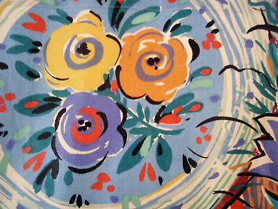 Mid century vintage Picasso-esque cotton fabric abstract floral curtains drapes!