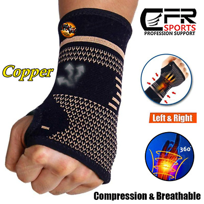 Copper Wrist Brace Hand Support Gloves Carpal Tunnel Splint RSI Sprain Pain