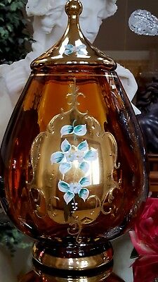 "Vintage HUGE 15.5""T AMBER GLASS Covered Jar GOLD PLATE & FLOWERS MURANO ITALY!"