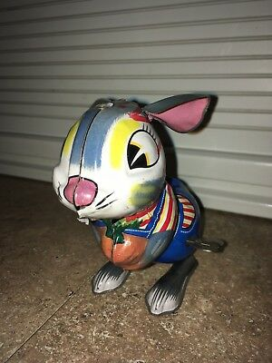 "Adorable Vintage 1950s - 60s Japan Windup Tin Litho Bunny Rabbit 4 1/2"" Tall"