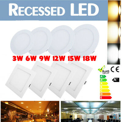 15W 18W-LED Recessed Ceiling Panel Down Lights Bulb Lamp Fixtures-Round&Square