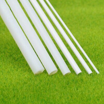 5x White ABS Plastic Rod Round Solid Bar DIY Model Material 250mmx 1~6mm New