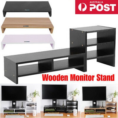Wood Monitor Stand LCD LED Computer Monitor Riser Desktop Display Bracket Stand