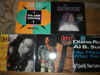 Diana Ross-Lot of 5-SEALED 12 In. Dance Singles-Workin Overtime-This House-MOTOW