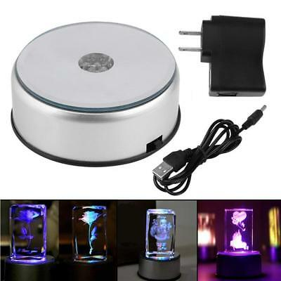 """4"""" Unique 360` Rotating Crystal Display Base Stand 7 LED Colored Light"""