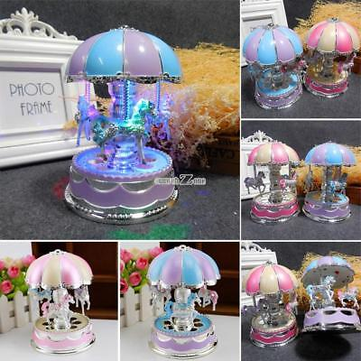Beautiful LED Light Glow Merry-Go-Round Music Box Home Decoration RR6 01