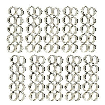 100x Pack 3/4 In PEX Pipes Stainless Steel Clamp Cinch Rings Crimp Pinch Fitting