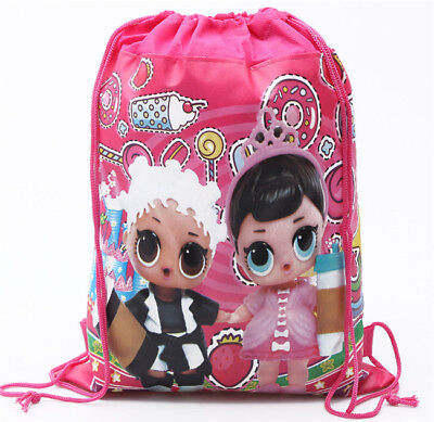 Cute Girls LOL surprise Dolls Drawstring Backpack Kids Cartoon Non-woven Gym Bag