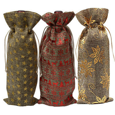 Xmas Jute Burlap Bottle Bags Drawstring Wine Champagne Linen Package gift Bag FT