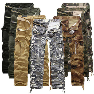 Men Cotton Cargo Pants Camouflage Army Military Baggy Casual Outdoor Trousers