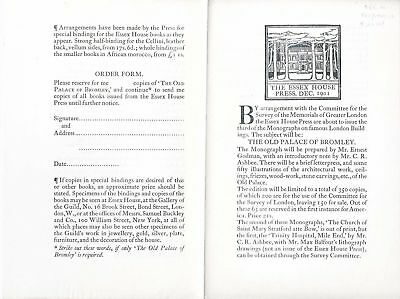 Essex House Press / Essex House Prospectus and Order Form for The Old Palace