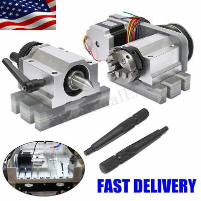 CNC Lathe Router Rotary Engraving Axis A-axis 4th-axis 3 Claw Chunk + Tailstock
