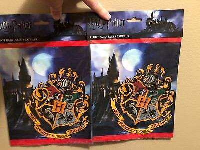 NEW Harry Potter Loot Bags For Partys 8 Packs In Each Pack (Lot of 2)Total of 16