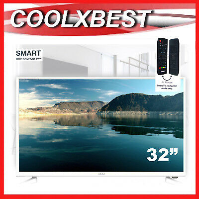 "32"" White Android Smart Led Tv Hd Digital Monitor Usb Pvr Wifi Internet Access"