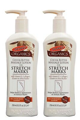 2 x PALMER'S 250g ORGANIC COCOA BUTTER MASSAGE LOTION FOR STRETCH MARKS