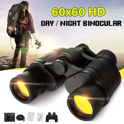 60X60 Zoom Day/Night Vision Outdoor HD Binoculars Hunting Telescope + Case SET