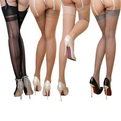 Women Back Seamed Stiletto Heel High Stockings Thigh-Highs See Through Hosiery