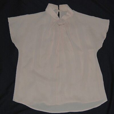 Vintage 70s Sheer Tan Blouse Faux Flower Center S Small Short Sleeve