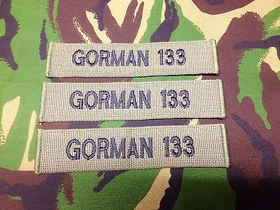 OFFICIAL MILITARY WEBBING NAME TAPES OR ZAP BADGE DETAILS ( X 3 sew on )B/A R/N
