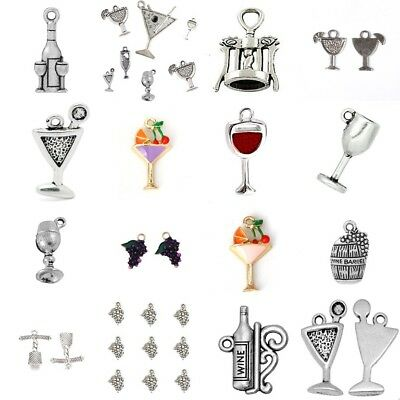 Wine Cocktail Theme Charms Tibetan Silver Enamel Pendant Grape Glass Bottle Beer