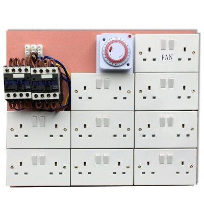 14/18 Way Contactor MDF Board with Timer Hydroponic Grow Light & Fans