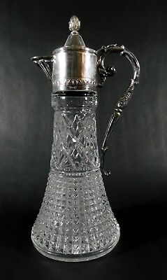 Vintage Victorian Silver Plated Cut Glass Claret Decanter