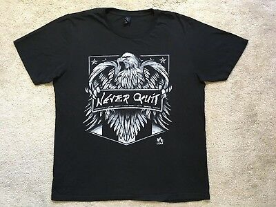 NEVER QUIT Middle East American Bald Eagle MiliT Shirt Tee BLACK GRAY MEDIUM