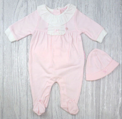 Newborn Baby Girls Spanish Style Pink All In One Babygrow Romper & Hat Outfit