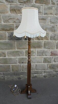 Old Charm Wood Bros. Oak Floor Standard Lamp & Shade