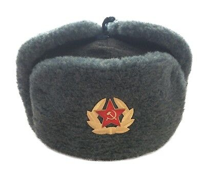 Russian Hat Ushanka Grey Faux Fur Cossack Trapper & USSR Army Military Badge
