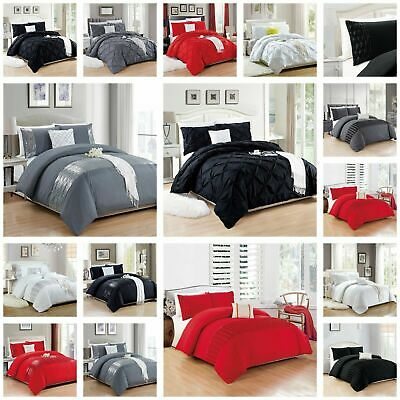 Plain Duvet Cover Bedding Set With Pillowcase or Fitted Sheet Single Double King