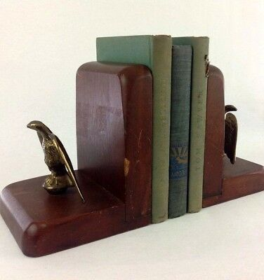 Pair of Vintage Wood Brass Eagle Bookends Home Decor Library Accessories Office