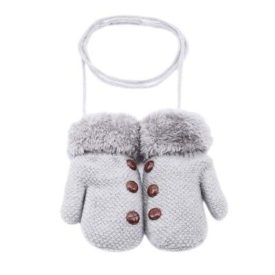 Knitted Thick Winter Gloves Solid Hot Full Finger Rope Mittens For Children 8C
