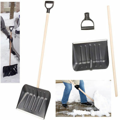 Heavy Duty Long Snow Shovel Plastic Head Metal Blade Wood Handle Lightweight New
