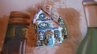 HEATHER GOLDMINE 2002 Blue Sky Corp. ceramic glazed House/Cottage pin brooch